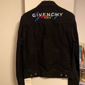"""Givenchy Demin Black Jacket with multicolor """"Givenchy"""" in the back"""
